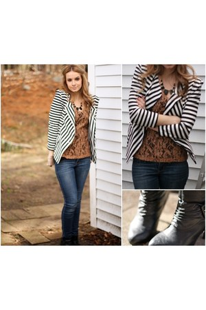 striped blazer - booties boots - statement necklace - lace top - tube top top