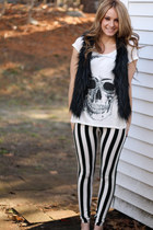 faux fur vest - striped leggings - shirt - black cone heel pumps