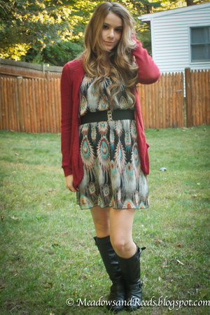 dress - boots - belt - cardigan