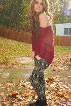 dolman top top - boots - leggings