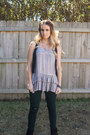 Dark-green-distressed-wet-seal-jeans-heather-gray-ruffle-tunic-top
