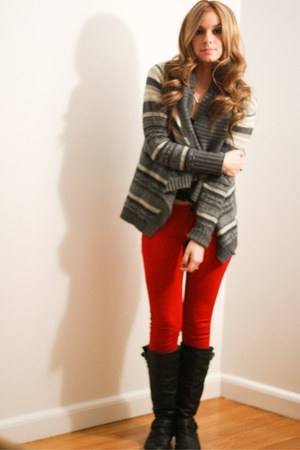 aztec waterfall cardigan - riding boots boots - red ponte pants pants