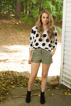 boots - polka dot sweater - shorts
