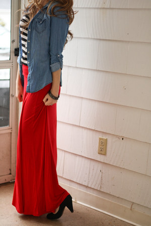 stripe top - denim chambray shirt - maxi skirt - cone heels