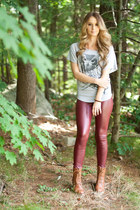 boots - faux leather leggings - owl dolman top - brown bracelet