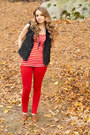 Oxfords-shoes-red-striped-top-red-pants-fur-vest-vest-necklace