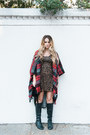 Lace-up-boots-urbanog-boots-brown-forever-21-dress-ruby-red-forever-21-cape