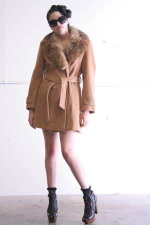 brown vintage coat - black Target leggings - black Jessica Simpson shoes - black