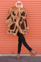 dark brown Vintage Schott coat - black Cheap Monday jeans - brown shoes - maroon