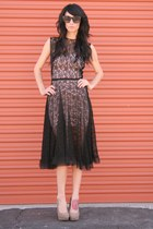 black vintage dress - light purple dress - black sunglasses - beige shoes