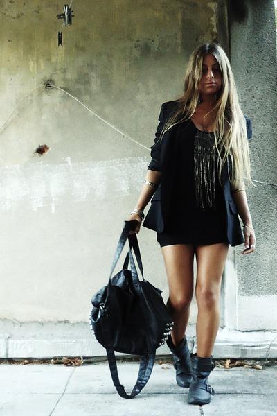 black zara dress - black zara blazer - black zara bag