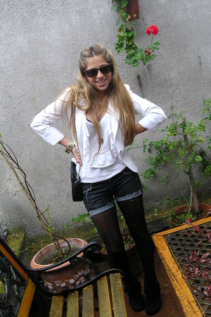 Zara blazer - Zara shirt - antonio straface shorts - Zara tights - Ray Ban boots