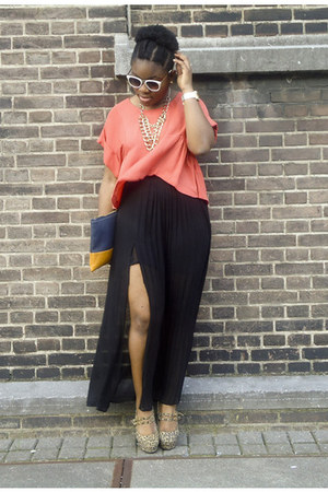 black H&M Trend skirt - Bershka bag - white River Island sunglasses