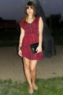 Ruby-red-zara-dress-black-stradivarius-bag-nude-zara-flats