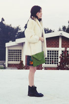 off white fur vintage coat - black shift dress Zara dress