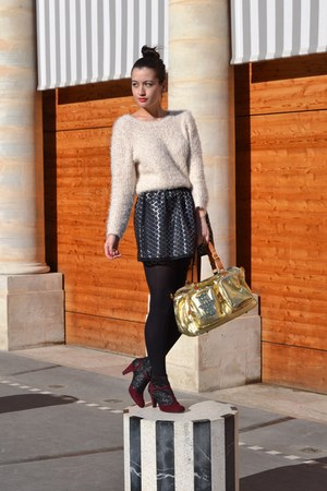 gold Manoush bag - sparkle boots andré boots - white fluffy H&M jumper