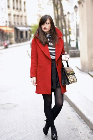 red wool Zara coat - black andré shoes - grrrr Manoush bag - stripey H&M top