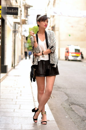 white Pimkie top - black and white DJEEGN jacket - Kate Lee bag