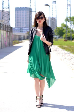 green chiffon H&M dress - black leather Promod jacket