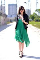 green chiffon H&M dress - black leather Promod jacket