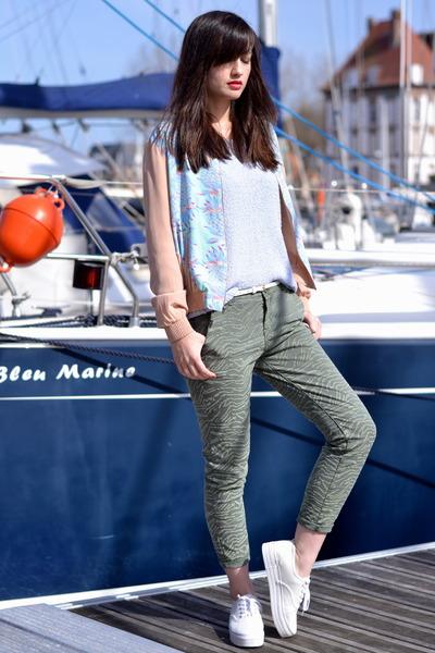 pale blue H&M jumper - green Zara jeans - bue silk Dress Gallery jacket