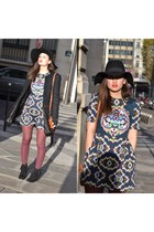 Manoush dress - andré boots - fluffy black By Fabrio coat - H&M hat