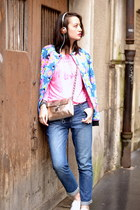 floral neoprene Manoush jacket - blue denim Pimkie jeans - Bollywood Bazzar bag
