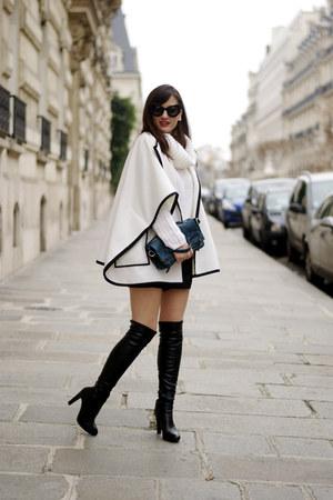 cream Jumper IT jacket - black leather Minelli boots - Kate Lee bag