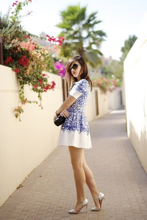 blue and white Manoush dress