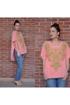 pink and fluffy Manoush jumper - nude and gold H&M shoes