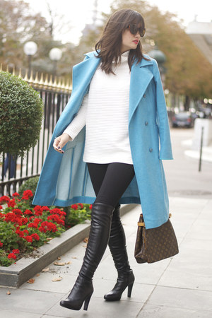 aqua blue unknown brand coat - Minelli boots - black jersey Pimkie leggings