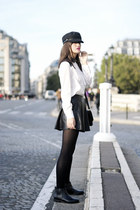 navy Pimkie hat - black leather Rule London boots - shiny black Pimkie skirt