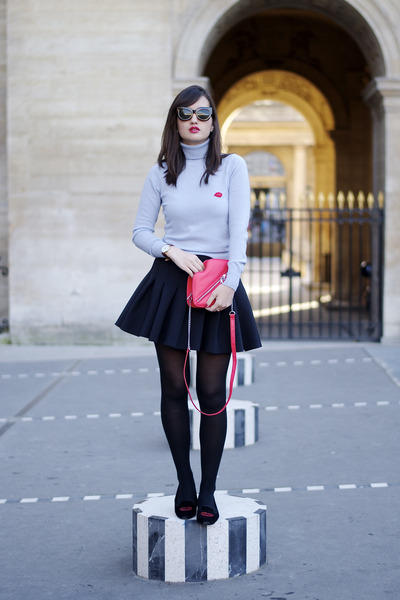 light blue Manoush jumper - black and red H&M shoes - red H&M bag