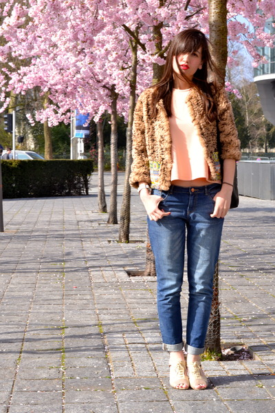 blue Pimkie jeans - brown fur Manoush jacket - coral Pimkie top