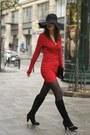 Black-suede-chie-mihara-boots-red-hedonia-dress-black-h-m-hat
