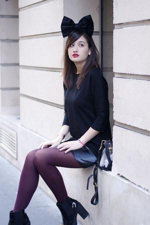 black asos accessories - shiny black new look boots - Simone Et Louise dress