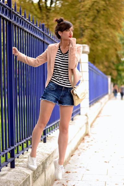 pink Color block jacket - blue denim H&M shorts - white canvas H&M pumps
