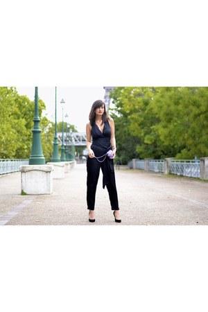 black catherine malandrino romper - Crystal Clutch bag - black Missguided heels