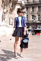 purple Tally Weijl jacket - white and gold Boohoo shoes - black Sunita Mukhi bag
