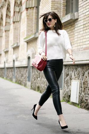 red Florian London bag - pleather Zara leggings - white Zara jumper