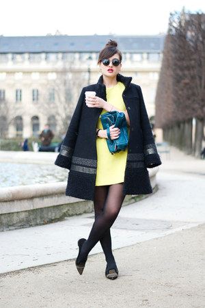 blue wool Axara coat - neon yellow Zara dress