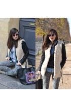 Promod jacket - Manoush bag - fluffy white H&M cardigan