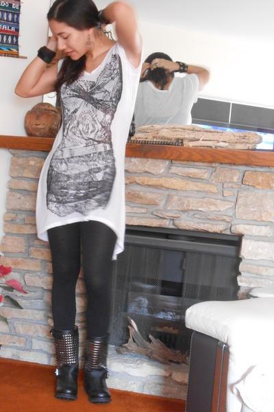 studded taunt ziginy boots - x-ray tunic BCBG dress - Forever 21 leggings