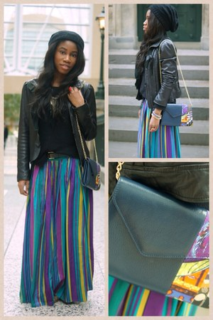 vintage skirt - black maxi skirt Guess jacket - mefie bag