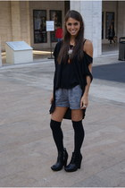 black emma&sam shirt - black zoe boot sam edelman boots