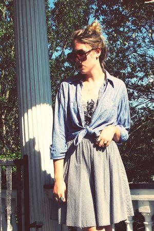 black vintage sunglasses - blue vintage shirt - black Bebe dress