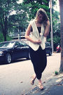 White-thrifted-vest-black-h-m-pants-gold-random-boutique-necklace-beige-je
