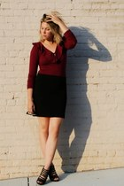 crimson vintage jumper - black Forever 21 skirt - black Urban Outfitters sunglas