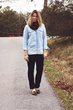 light blue chambray madewell shirt - brick red scarf - black JCrew pants