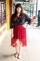 brick red hi-low skirt - beige oxfords shoes - black bird print blouse